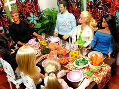 Yum :P (the waverlys) Tags: thanksgiving family food holiday dinner table miniature doll sitting ken barbie story rement basics episode diorama dollies