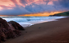 Storm Approaching Rodeo Beach (Matt Granz Photography) Tags: ocean california desktop sunset wallpaper seascape storm motion blur beach nature water weather clouds reflections landscape photography evening twilight rocks long exposure pacific dusk marin shoreline surreal shore headlands rodeo stacks mattgranz cloudsstormssunsetssunrises