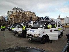 Essex & Warwickshire Police Sprinters (kenjonbro) Tags: uk london march protest trafalgarsquare demonstration mercedesbenz sprinter drafted pensions essexpolice kenjonbro warwickshirepolice fujihs10 ek51gkp eu53czy eu53uyc