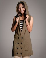 59216八粒扣双口袋无袖连帽长版针织衫-咖啡色-(韓版時尚女裝-www.ef1688.com)