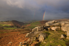 Tor and Rainbow (Paul Newcombe) Tags: uk winter england storm cold rain weather clouds landscape nationalpark rainbow rocks december view derbyshire peakdistrict bad windy peaks gritstone hopevalley sigma185028 higgertor britnatparks nearhathersage