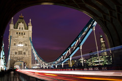 Tower Bridge Rush (Ming Jun Tan) Tags: road uk travel bridge blue sunset red travelling london tower tourism clouds towerbridge canon lights twilight architechture europe icons purple unitedkingdom britain famous adventure british lighttrails tamron shard europeanunion londonuk traveluk londonicon 40d worldicon canon40d
