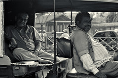 Evening Pause (eternal_ag0ny) Tags: auto road street old india man photography 50mm evening nikon traffic bangalore driver resting nikkor rickshaw d300s