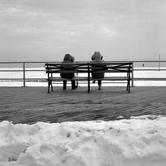 a day at the beach (Barry Yanowitz) Tags: ocean nyc newyorkcity blackandwhite bw snow ny newyork 6x6 film beach weather brooklyn mediumformat coneyislan