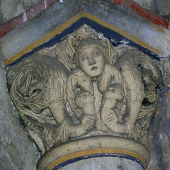 A woman (Luxuria) breast-feeding dragons (petrus.agricola) Tags: from two woman abbey hall maria or capital entrance dragons breastfeeding benedictine atrium romanesque vices luxuria lujuria paradies laach lussuria