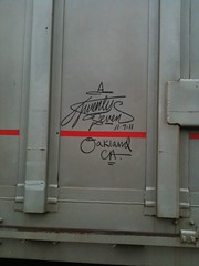 Oakland, CA (+PR+) Tags: railroad chicago folkart trains 27 tramping railfan freight boxcars railcars rollingstock rxr monikers twentyseven hoboart benching duece7