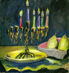 5th Night of Chanukah (Marcia Milner-Brage) Tags: stilllife chanukah menorah neocoloriiwatersolublewaxpastels