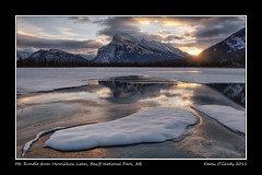 Sunrise at Vermillion Lakes with Mt. Rundle, Banff National Park, Alberta [EXPLORED] (kgogrady) Tags: park morning trees winter mountain lake snow canada mountains west color colour reflection tree ice water rock clouds sunrise landscape rockies nikon mt rocky noone peak ab nopeople canadian mount national alberta western banff rockymountains mountrundle rundle banffnationalpark mtrundle explored d700