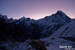 Annapurna Base Camp, Nepal - Waiting For the Sunrise ... Damn it is freezing ! (GlobeTrotter 2000) Tags: nepal winter camp vacation moon mountain fish snow cold tourism ice expedition night sunrise trekking trek landscape dawn frozen asia tail visit adventure explore climbing abc peak