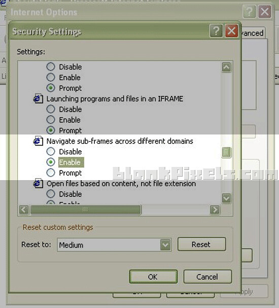 Change this setting on your security settings on the Internet Options
