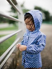 (GenkiGenki) Tags: park bridge people canon hair eos 50mm toddler singapore andrea daughter raincoat ef 50l ef50mmf12lusm 5dmarkii 5d2 5dmark2 sengkangriversidepark