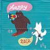 Happy 2012 (esmée[old account]) Tags: bear illustration painting happy paint acrylic cardboard fox happynewyear happy2012