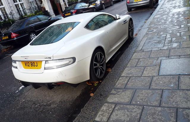 white london wet car rain supercar spotting astonmartin 2012 dbs v12 v12boj