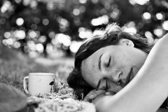 Three Years to the Day (fotobes) Tags: sleeping portrait blackandwhite france girl beautiful happy blackwhite bokeh olympus om10 mug jess asleep ilfordbwfp400