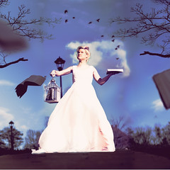 learning to breathe again. (Casey David) Tags: trees wedding sky girl birds clouds flying dress books 365 weddingdress project365 365days bookbirds thislooksincrediblyamateurish