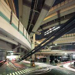 Heavy Tangle (spiraldelight) Tags: tokyo traffic junction explore  lighttrails  hakozaki jct expressways    eos5dmkii tse17mmf4l hakozakijunction suitegumae
