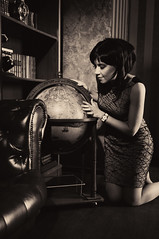 KGV_9862_F (KorGen) Tags: portrait blackandwhite girl globe map interior      nikkor1755mmf28