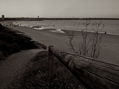 To the beach, Kyeemagh (seathelight_fineart) Tags: people bw beach monochrome airplane evening airport sand weeds waves perspective botany vignette shrubs clearsky brightonlesands kyeemagh seathelight photosarchive25012012