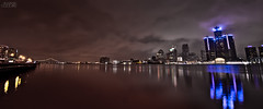 Detroit Lights (AlexDrops) Tags: camera city bridge winter panorama canada building water night clouds river lens photography lights gm long exposure december angle mr michigan sony detroit wide tokina ambassador 580 28f donwtown digitalcameraclub ontariowindsor