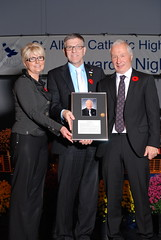 Len inducted into St. Albert Catholic High School Wall of Frame by Mayor Nolan Crouse and Trustee Joan Crockett