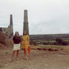 Tin Mine - Cornwall - 1960s (Gareth Wonfor (TempusVolat)) Tags: women girls woman girl 1960s 60s fashion posing legs cornwall mini skirt miniskirt tin mine chimney stack industrial revolution carol friends pretty beautiful goodlooking cute trendy cool hip happening style stylish young groovy vintage retro old mrmorodo film scan scanned epsonv200 attractive beauty female lady tempusvolat tempus volat gareth mum mother swinging sixties swingingsixties sixtiesfashion 60sfashion womenarebeautiful epsonscanner flickr getty interesting image picture gw scanner scanning epson perfection v200 garethwonfor mr morodo square squareformat