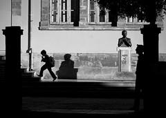 Shadows (ssj_george) Tags: street old city school boy people man silhouette statue stairs square lumix photography town shadows head steps cyprus running panasonic backpack walls dmc walled within nicosia kypros lefkosia lefkosa faneromeni σχολείο phaneromeni πλατεία kipros λευκωσία κύπροσ georgestavrinos fz38 fz35 ssjgeorge γιώργοσσταυρινόσ giorgosstavrinos φανερωμένησ