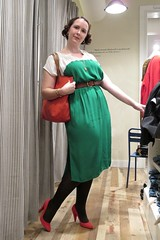 Kate  la Madewell (kate  la mode) Tags: red party woman green fashion bag necklace store belt pumps dress kate llama style retro clothes 1940s heels soiree tote belted pincurls madewell fabsugar
