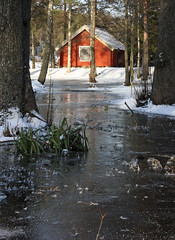 The Red Cottage (Steffe) Tags: school winter lake snow ice canon sweden haninge rudan handen farmbuildings rudansgård ginordicjan12 utata:project=icy