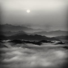 rolling morning fog (StephenCairns) Tags: morning trees blackandwhite bw mist japan fog forest sunrise hills    gifu  moutains     ruralscenes   canon50d stephencairns 70200mmf4isusm 50dcanon
