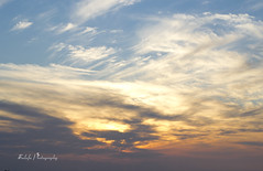 God's painting (Sulafa) Tags: blue sunset sky orange sun clouds il