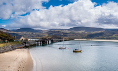 Barmouth Bay!  (Explored 07/05/16) Thankyou All (dazzbo1) Tags: bridge sea sky seascape mountains beach wales clouds train bay boat sand steel railway structure serene barmouth yaught sarene