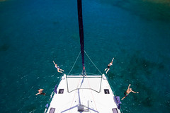 From above (JSTAR377) Tags: ocean blue sea vacation holiday water swim fun jump sailing fromabove adventure catamaran caribbean mast moorings