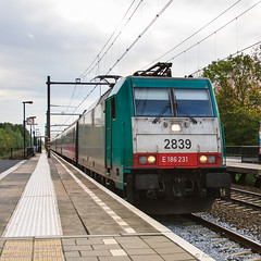 SNCB 2839, Dordrecht Zuid (MacCookie) Tags: 186231 2839 918871862317bb alphatrainsnvsa benelux bombardier class186 class28 dordrecht dordrechtzuid e186 e186231 europe hle28 nmbs nmbssncb ns nsinternational nationalrailwaycompanyofbelgium nationalemaatschappijderbelgischespoorwegen sncb sociéténationaledescheminsdeferbelges southholland série28 traxx traxxf140ms traxxhle28 thenetherlands nl autumn electriclocomotive engine locohauledpassengertrain locomotive passengertrain railways zuidholland netherlands