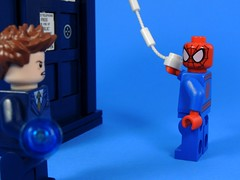 A Messy TARDIS (MrKjito) Tags: comics spider mess comic lego who 10 web spiderman peter doctor minifig tardis marvel parker crossover