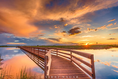 Farmington Sunset (Explored) (Viraj Nagar) Tags: city bridge usa lake reflection water colors evening utah wooden vibrant salt marshy