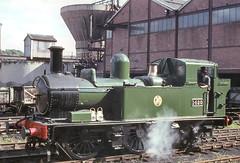 14xx class no.1420. Alveley Colliery sidings (Severn Valley).19 September 1965 (ricsrailpics) Tags: uk steam preservation 1965 severnvalleyrailway highley 042t exgwr slsspecial 14xxclass alverleycolliery