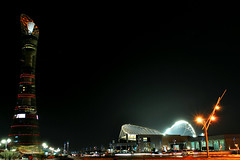 Khalifa Stadium & Games Torch (Explore 24/11/2011) (Sarfraz Abbasi) Tags: longexposure nightshot kitlens torch 1855mm doha qatar khalifastadium d3000 asiangamestorch