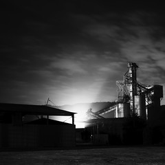 Sumitomo cement factory (StephenCairns) Tags: longexposure blackandwhite bw industry japan night 岐阜 gifu 夜 工業 industrialphotography 岐阜県 30mmsigmaf14 canon50d 50dcanon sumitomocement 住友セメント工場 sumitomocementfactory 住友大阪セメント工場
