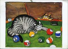 postcard - from krdavis, USA (Jassy-50) Tags: cat humorous drawing postcard cartoon postcrossing kliban damaged pooltable klibancat