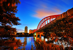 台北  - 永福橋 - Yongfu bridge (urbaguilera) Tags: park bridge blue parque red sky color building water clouds río photoshop puente twilight rojo agua nikon riverside daniel taiwan tokina foliage cielo hour pro nik taipei 台灣 台北 31 aguilera anochecer vegetación ribera 河濱公園 gongguan 公館 永福橋 cs5 efex yongfu d5000 1116mm urbaguilera