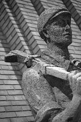 Big Wrench (peterkelly) Tags: bw sculpture canada man brick hat statue stone wall digital cne northamerica wrench canadiannationalexhibition theroyal 2011 theroyalagriculturalwinterfair