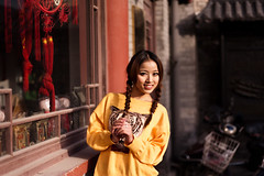 Tigress, Dongcheng - Beijing (adde adesokan) Tags: china street travel portrait people woman color girl face hair photography beijing streetphotography style stranger portrt schwarzweiss schwarz tigress pigtail streetphotographer dongcheng theblackstar streettogs
