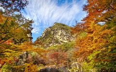 Color Explosion Rock Mountain (arcreyes [-ratamahatta-]) Tags: autumn red orange mountain green yellow rock japan colorful day clear hdr yamanashi 2011 3xp shosenkyo agustinrafaelreyes