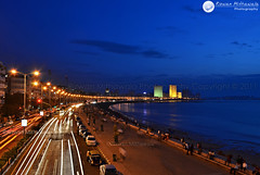 Marine Drive, Mumbai - India ( Rizwan Mithawala) Tags: city longexposure blue light sea sky people india color colour reflection green beauty yellow architecture photography town movement nikon downtown cityscape photographer traffic indian trails kitlens landmark structure bombay maharashtra bluehour ambassador mumbai oberoi airindia trident marinedrive queensnecklace rizwan dodgeburn ncpa layerd multivita 1855mmvr highlit rabian d5100 rizwanmithawala mithawala nikond5100 kitlensnikond5100 d5100rizwanmithawaladsc0449 noisewr pthp80removfromsky