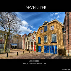 Deventer - Muggeplein (Hans van Bockel) Tags: photomatix nikon d200 raw nef 1024mm hdr photoshop nik framed canvas deventer city cities stad hometown architecture buildings medieval houses noordenbergkwartier district wijk muggeplein boom politie buro restauratie