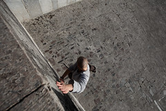 Wall slide (Crabeshnik) Tags: city autumn people urban man nature sport stone architecture canon movement hand view photos action russia daily commute acrobatics parkour 2011 triks l1740 5dm2