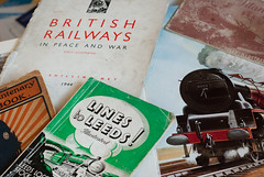 Our past is always present (Cross Duck) Tags: leeds books nostalgia moire railways oldbooks britishrailways 50mmprimelens steamrailways moirepattern pentaxa oldleeds railwaymemorabelia leedslocomotivestock leedsmemorabelia