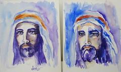 Christ, by Vnia (Dona Mincia) Tags: portrait art face saint watercolor painting paper christ jesus study tribute cristo homage rosto homenagem aquarela bymemory byimagination