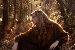 (sixbysixtasy) Tags: wood trees winter light red portrait colour nature girl fashion forest hair sweater model nikon warm gorgeous profile 85mm curly blonde bracken backlit nikkor mayhem contrejour d700