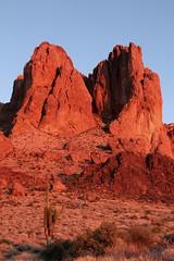 Sunset in the Superstition Mountains (Rachel219) Tags: sunset arizona southwest treasure desert hiking az saguaro lostdutchman treasurehunt desertsunset superstitionmountains catchycolorsorange catchycolorspink arizonasunset lostdutchmangold